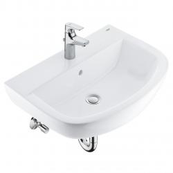 Bau Ceramic set lavabo suspendu 60 cm + mitigeur monocommande + siphon + robinet d'équerre (39644000)