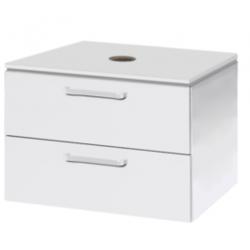 Vario Dekor meuble blanc pour vasque à poser, tiroirs blancs