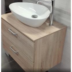 Vario Dekor meuble bois clairs pour vasque à poser, tiroirs bois clairs