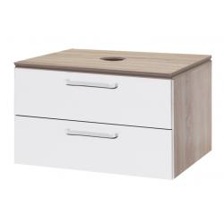 Vario Dekor meuble bois clairs pour vasque à poser, tiroirs blancs