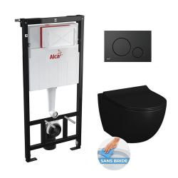 PACK WC suspendu Vitra Black Sento sans bride + bati support Alca Plast + abattant softclose, plaque de commande noire mat