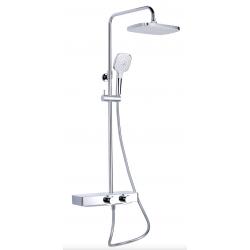 Swiss Aqua Technologies colonne de douche avec mitigeur thermostatique et tête de douche XXL 287mm, blanc / chrome