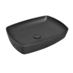 Vasque à poser noire mat rectangulaire, 60x44cm