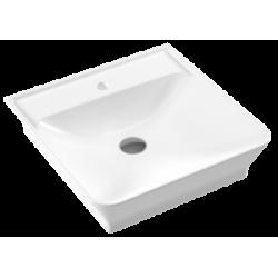 Vasque à poser 51x50cm avec plage robinetterie