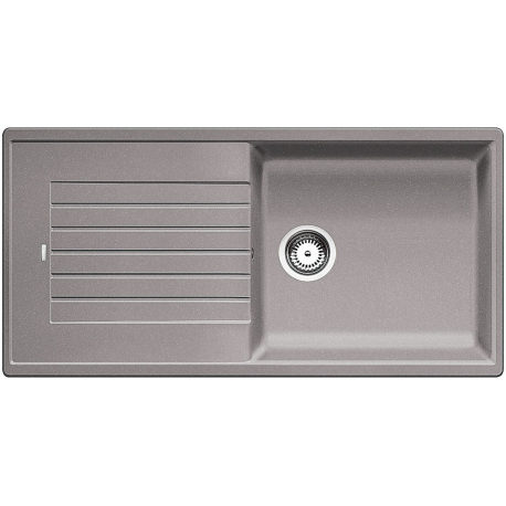 Blanco ZIA XL 6 S - évier composite de granit SILGRANIT PuraDur II, simple bac XL avec égouttoir, couleur aluminium