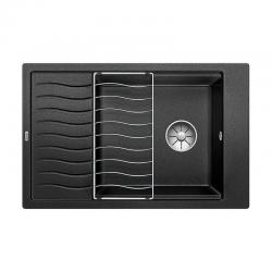 Blanco Evier ELON XL 6 S PuraDur en Silgranit 78x50cm cuve XL réversible + Egouttoir inox, Noir