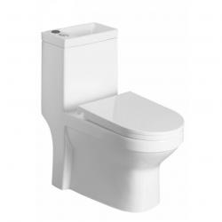 Hygie WC à poser gain de place avec lave-mains intégré, Abattant soft close