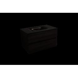 Meuble de salle de bain avec vasque noir mat Naturel Verona 86x51,2x52,5 cm bois foncé