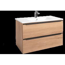 Meuble de salle de bains Naturel Nobia 90x60x46 cm chêne
