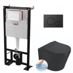Pack WC Bâti autoportant + WC Swiss Aqua Technologies Infinitio noir mat sans bride + Plaque chrome