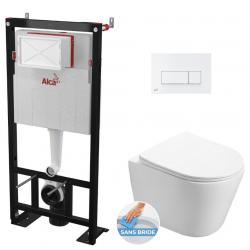 Pack WC Bâti autoportant + WC Swiss Aqua Technologies Infinitio sans bride + Plaque blanche (AlcaInfinitio-4)