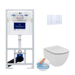 Pack WC Bâti-support + Cuvette Ideal Standard TESI AquaBlade sans bride fixations invisibles + Plaque chrome