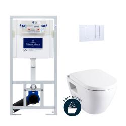 Pack WC Bâti-support avec Cuvette Serel SM10 + Abattant softclose + Plaque chrome