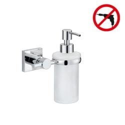 Hukk Distributeur de savon, métal chromé, pose facile sans perçage