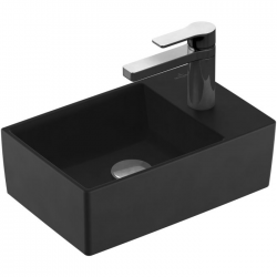Memento 2.0 lave-mains 40 x 26 cm, ébène C-plus, avec trou pour robinetterie, sans trop-plein